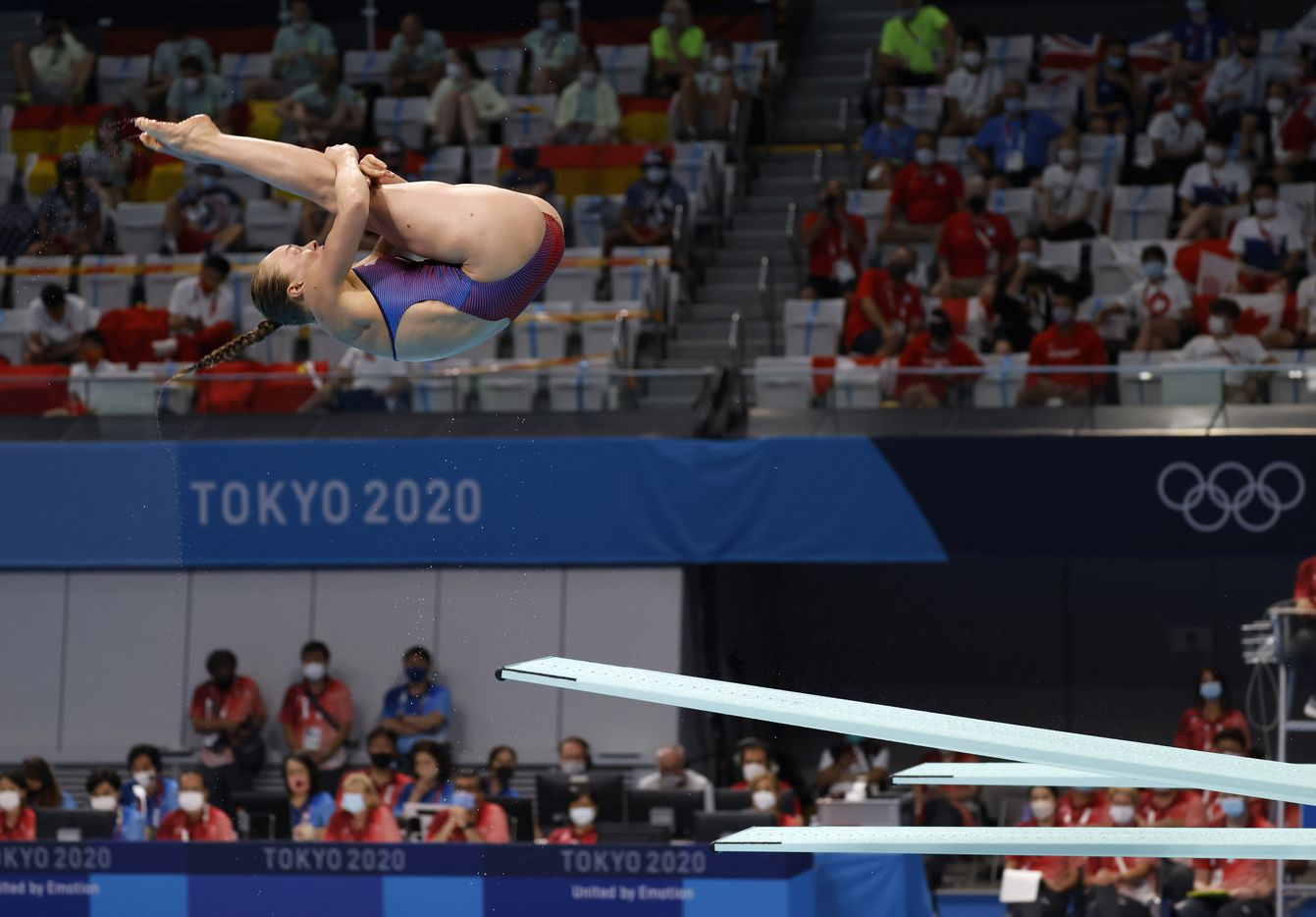 USA's Krysta Palmer competes in the women's 3 meter springboard preliminary competition during the postponed 2020 Tokyo Olympics at Tokyo Aquatics Centre, on Friday, July 30, 2021, in Tokyo, Japan. Palmer scored a total of 279.10 points to qualify for the next round. (Vernon Bryant/The Dallas Morning News)