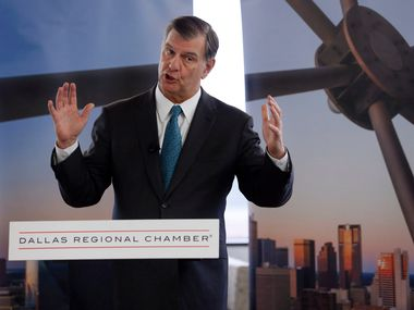 Dallas mayor Mike Rawlings speaks during a press conference about losing the Amazon bid at the Dallas Regional Chamber office in Dallas on Tuesday, November 13, 2018. (Vernon Bryant/The Dallas Morning News)