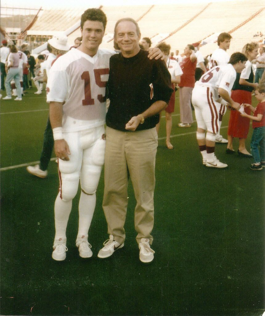 Stephen Jones and his father, Jerry Jones, at the University of Arkansas. Stephen was a four-year letterman as a linebacker for the Razorbacks in the 1980s