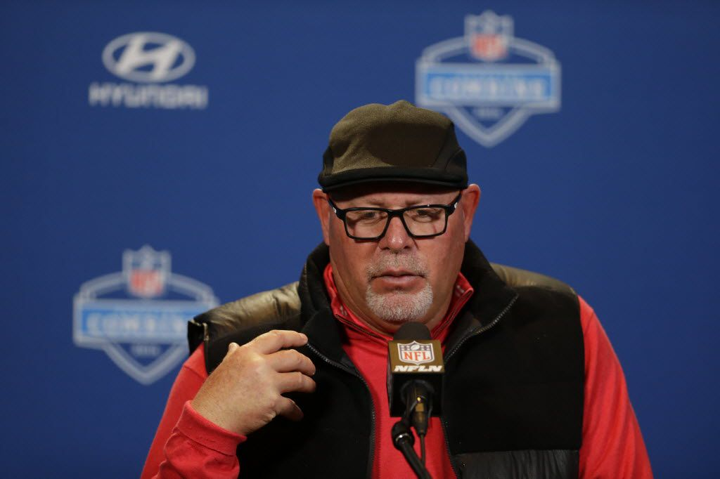Arizona Cardinals head coach Bruce Arians speaks during a press conference at the NFL football scouting combine in Indianapolis, Wednesday, Feb. 24, 2016. (AP Photo/Michael Conroy)