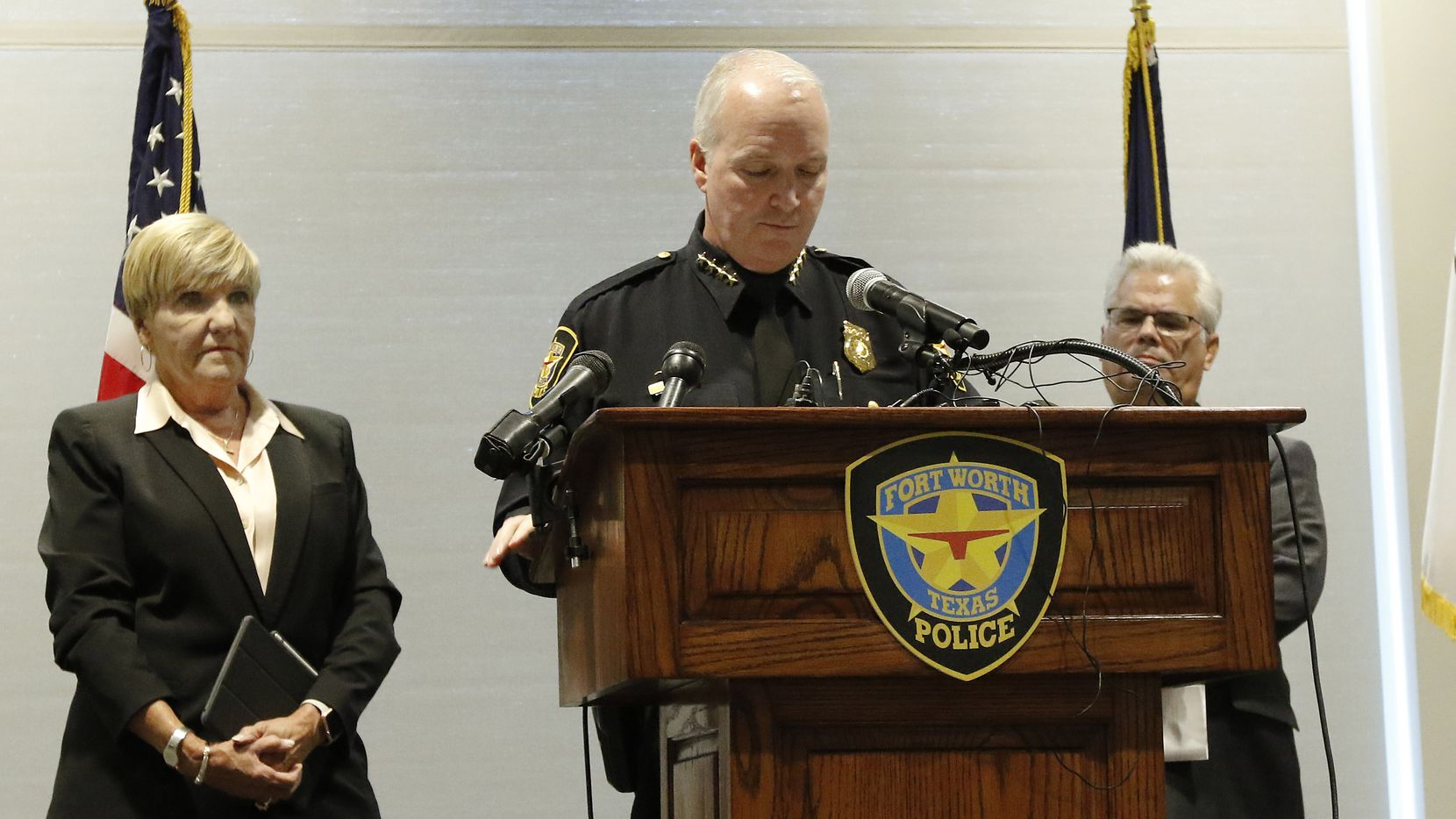 Fort Worth Mayor Betsy Price (left) listens as then-Interim Police Chief Ed Kraus addressed the media about the Atatiana Jefferson shooting on Oct.14, 2019.