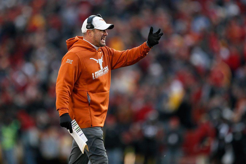 Texas head coach Tom Herman questions a call against his team during the first half of an NCAA college football game against Iowa State, Saturday, Nov. 16, 2019, in Ames, Iowa. Iowa State won 23-21.
