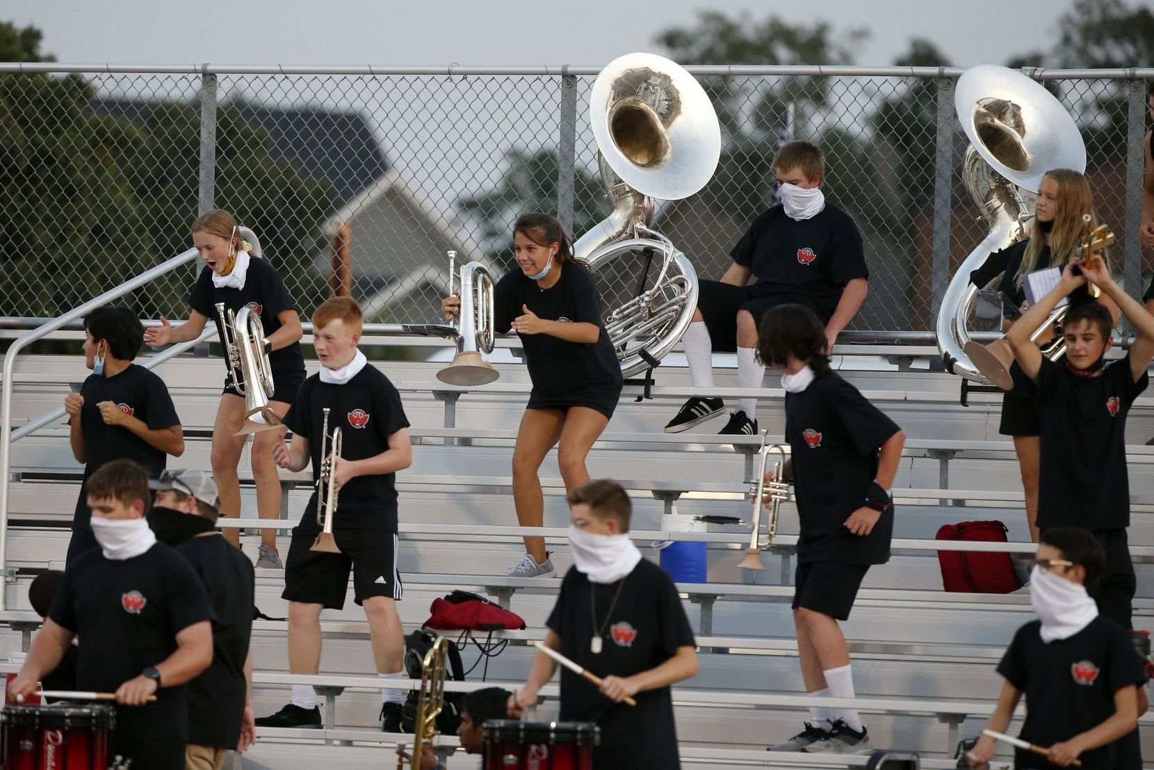 The Argyle band plays while being social-distanced, during a high school football game against Decatur, in Argyle, Tx, on August 28, 2020. (Michael Ainsworth/Special Contributor)