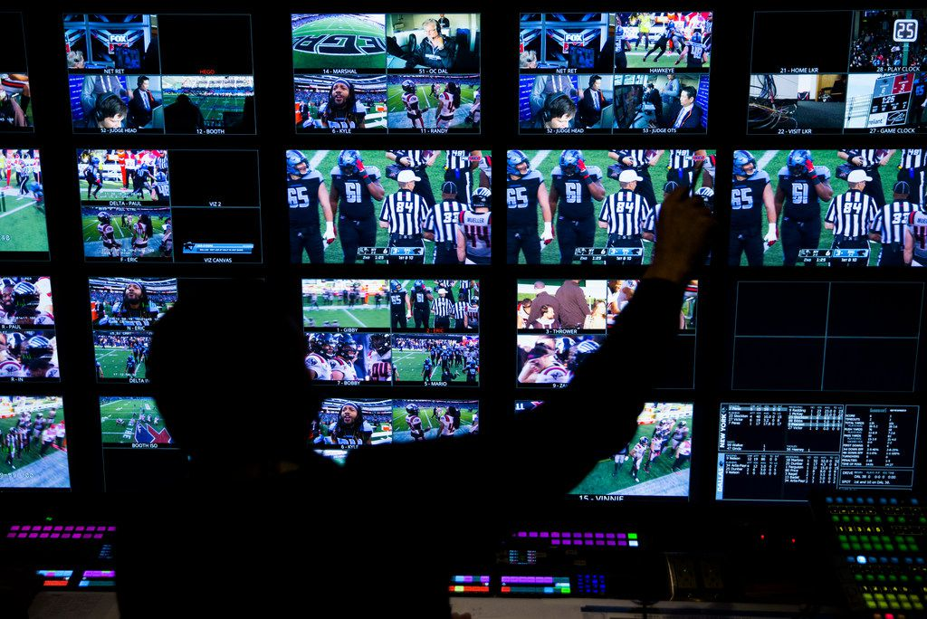 FOX Sports' Rich Russo works in the control room during an XFL game between the Dallas Renegades and the New York Guardians on Saturday, March 7, 2020 at Globe Life Park in Arlington. (Ashley Landis/The Dallas Morning News)