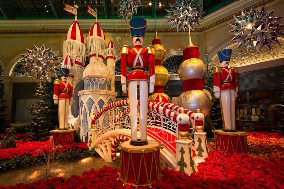 Guests can stroll through the free holiday display at Bellagio's Conservatory and Botanical Gardens 24 hours a day through Jan. 4.
