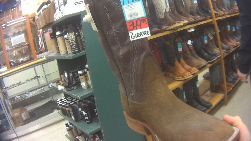 An undercover investigator found giraffe-hide boots for sale at Foster's Western Wear in Denton in January.