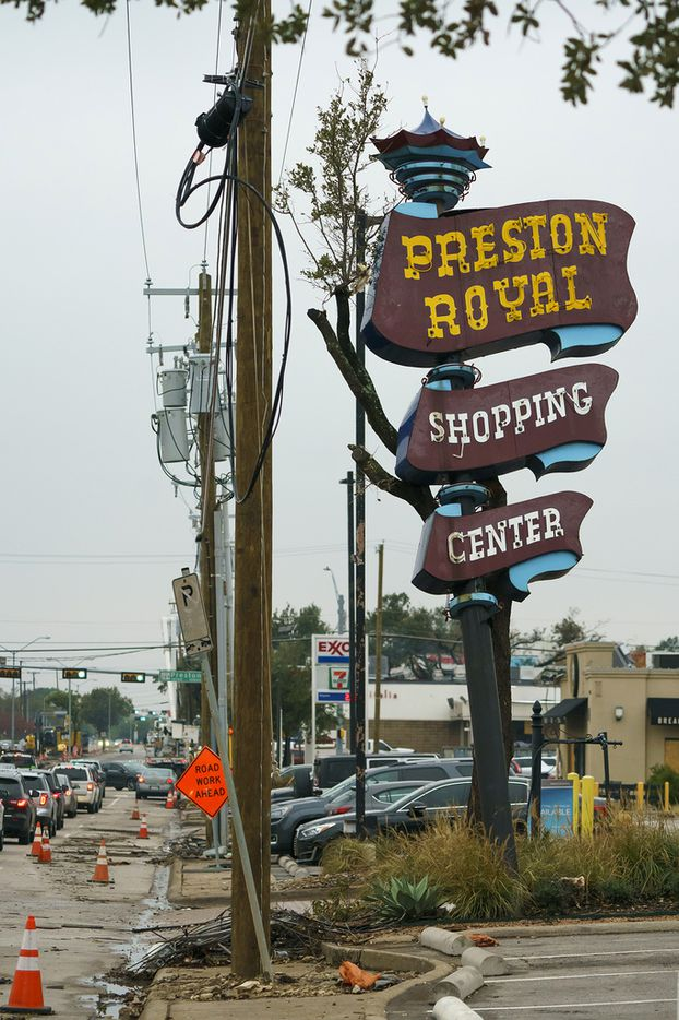 Damage from October's tornado remains around a sign on the northwest corner of the Preston Royal Shopping Center shopping complex on Thursday, Nov. 7, 2019, in Dallas. (Smiley N. Pool/The Dallas Morning News)