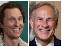 El actor Matthew McConaughey y el gobernador de Texas Greg Abbott. (DMN Staff pictures)
