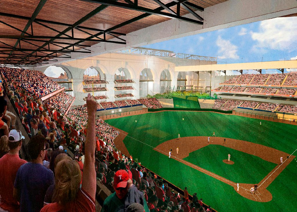 A HKS artist rendering of what the new Texas Rangers ballpark may look as it was displayed at a press conference in Arlington, Thursday, January 5, 2017. The Texas Rangers baseball organization announced that HKS has been selected to design the new ballpark to be built adjacent to Globe Life Park.