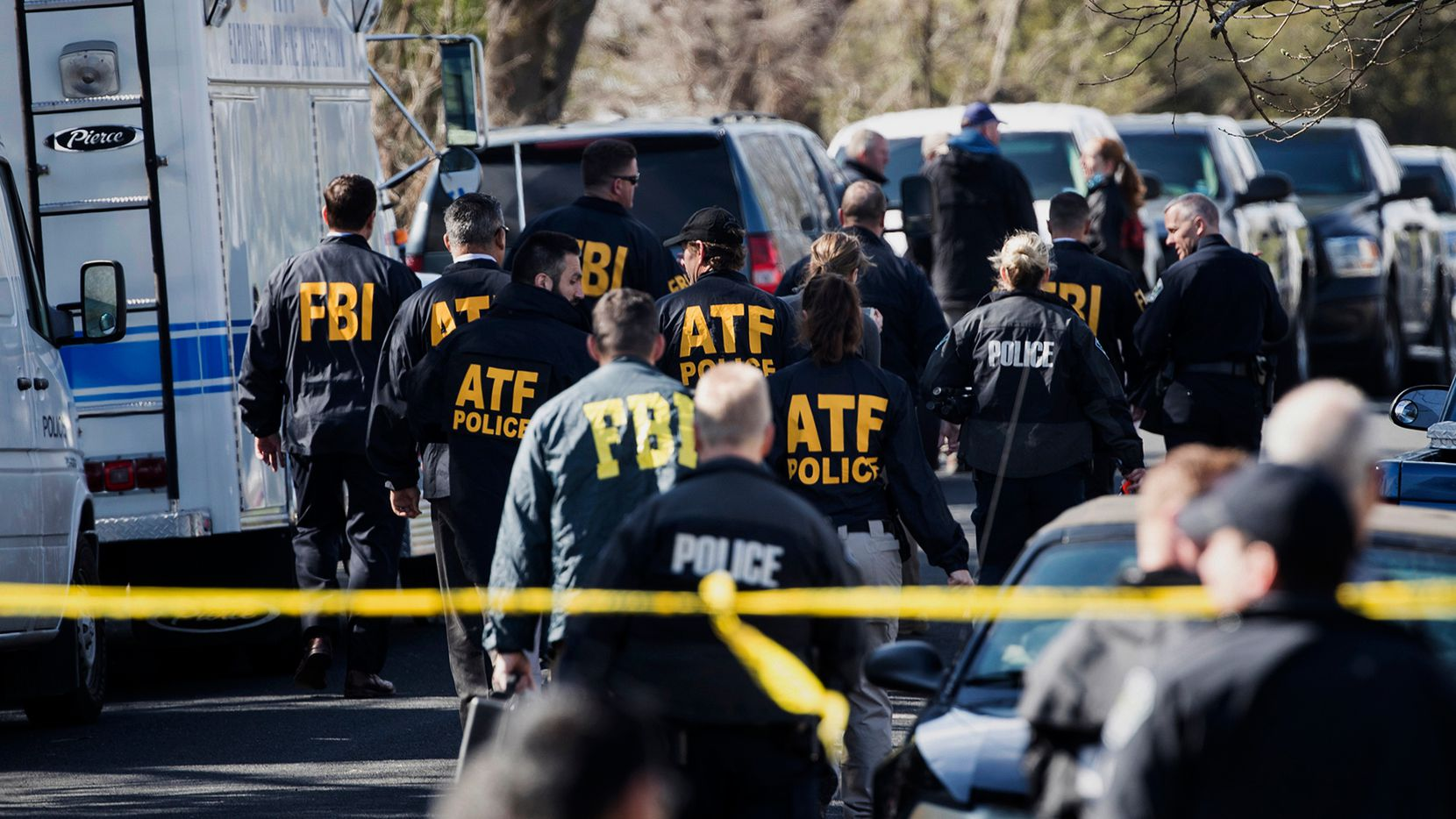 Authorities worked at the scene of an explosion in Austin in March.