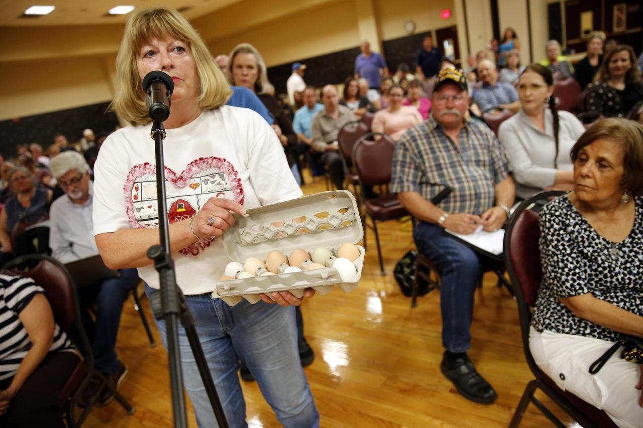Nancy Stearns, residente de Irving, trajo una docena de huevos de sus propias gallinas para la reunión del Concejo del jueves. (DMN/TOM FOX)