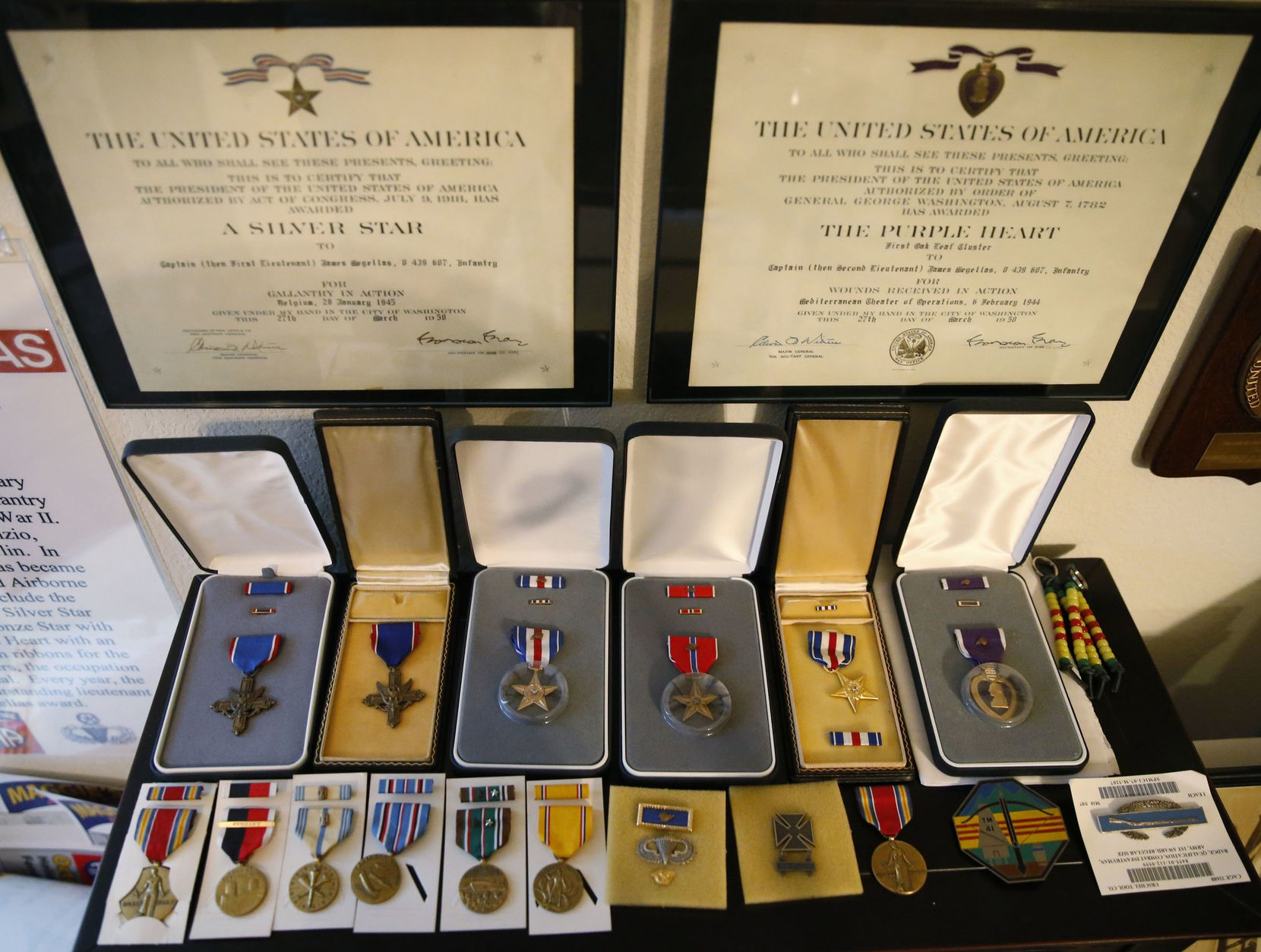 A collection of medals of James Megellas, a 101-year-old World War II veteran and the most decorated officer in The 82nd Airborne, at his home in Colleyville, Texas on May 16, 2018.
