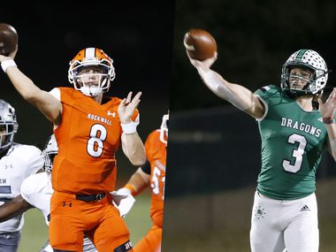 Rockwall's Braedyn Locke (left) and Southlake Carroll's Quinn Ewers.