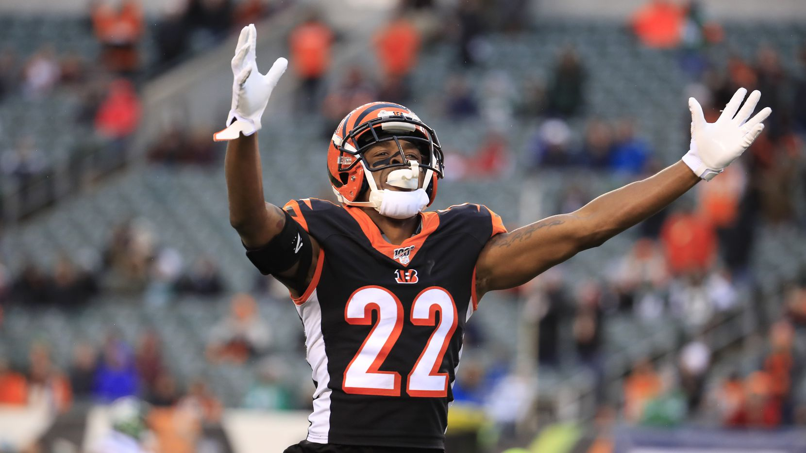 CINCINNATI, OHIO - DEC. 1: William Jackson III #22 of the Cincinnati Bengals celebrates after the Bengals stopped the the New York Jets on fourth down in the final minutes of the game at Paul Brown Stadium on Dec. 1, 2019, in Cincinnati, Ohio.