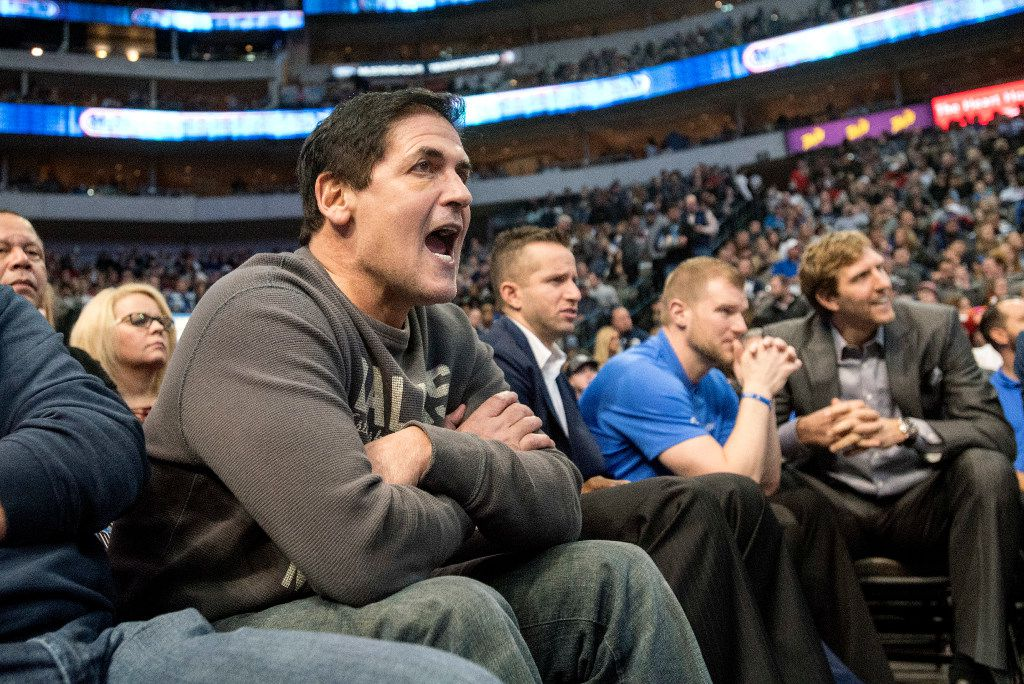 Dallas Mavericks owner Mark Cuban encourages his team on defense against the Chicago Bulls during the second quarter of their game on Saturday, December 3, 2016 at the American Airlines Center in Dallas. (Jeffrey McWhorter/Special Contributor)