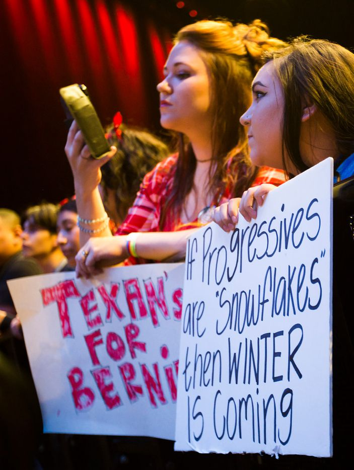 Supporters wait for Vermont senator Bernie Sanders to take the stage for the rally.
