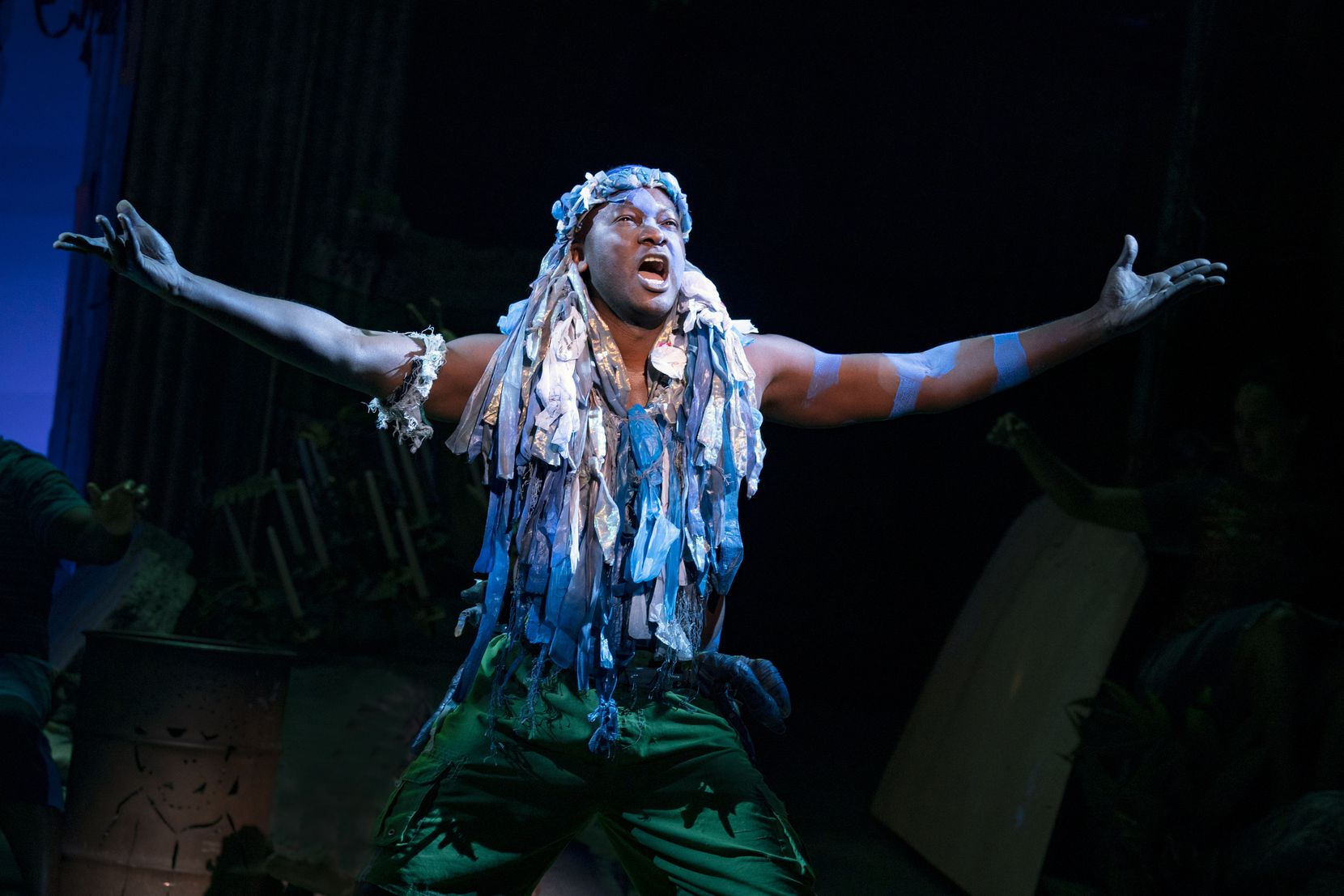 """Jahmaul Bakare as Agwe in the North American tour of """"Once on This Island."""""""