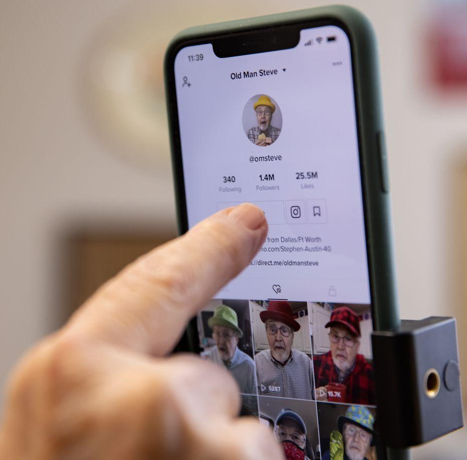 Steve Austin looks over his TikTok account.
