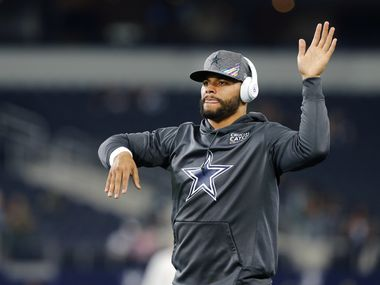 Dallas Cowboys quarterback Dak Prescott stretches during pregame warmups at AT&T Stadium in Arlington, Texas, Sunday, October 20, 2019. The Cowboys were preparing to face the Philadelphia Eagles on Sunday Night Football.