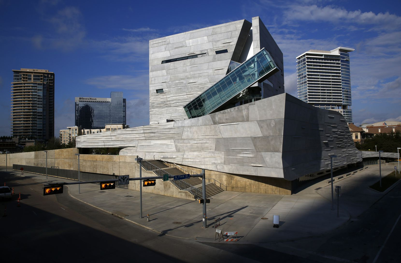The Perot Museum of Nature and Science was theoretically inspired by the Texas landscape, but it more accurately looks like it was dropped in from outer space, or at least Los Angeles.