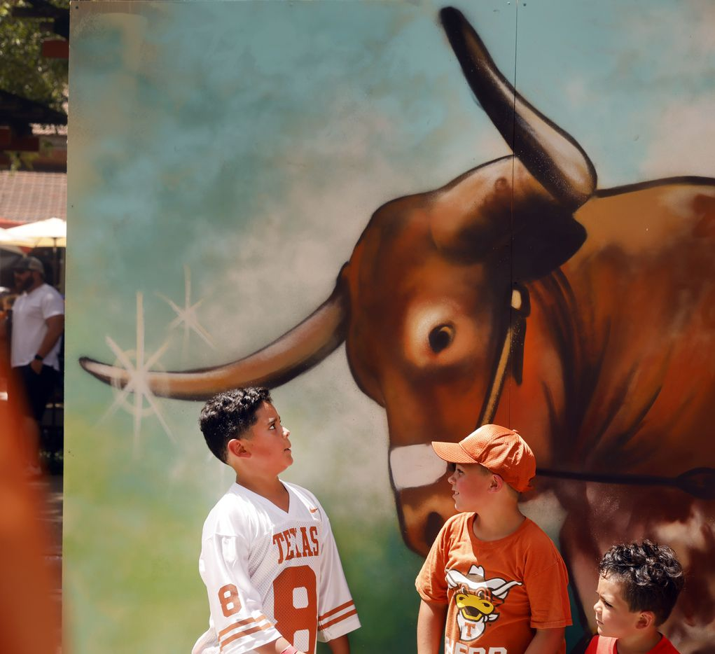 A young fan eye's a freshly spray painted image of the Texas Longhorns mascot Bevo as they took photos along Bevo Boulevard at DKR-Texas Memorial Stadium in Austin, Saturday, September 4, 2021. The Longhorns were facing the Louisiana-Lafayette Ragin Cajuns. (Tom Fox/The Dallas Morning News)
