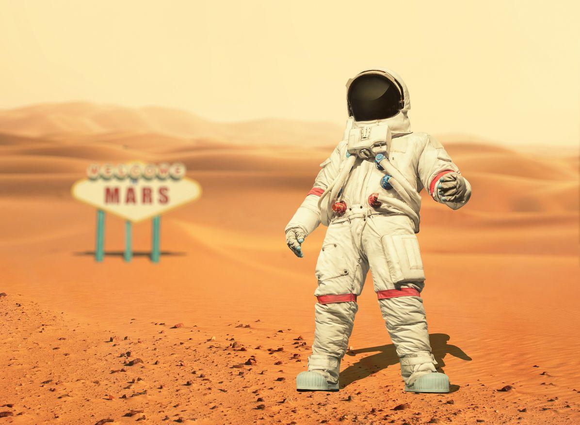 Una versión ilustrada de un astronauta en Marte.