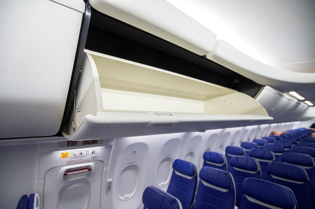An overhead bin in the cabin of one of Southwest Airline's new Boeing 737 MAX jetliners is pictured at Love Field in Dallas on Friday, September 23, 2016.  Southwest will be the first customer to fly the new airplanes. (Jeffrey McWhorter/Special Contributor)
