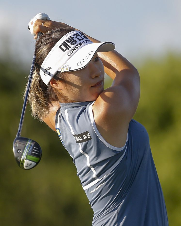 Professional golfer Jeongeun Lee6 watches her shot off the No. 9 tee box during the second round of the LPGA VOA Classic on Friday, July 2, 2021, in The Colony, Texas. Lee6 finished the round at eight under par. (Elias Valverde II/The Dallas Morning News)