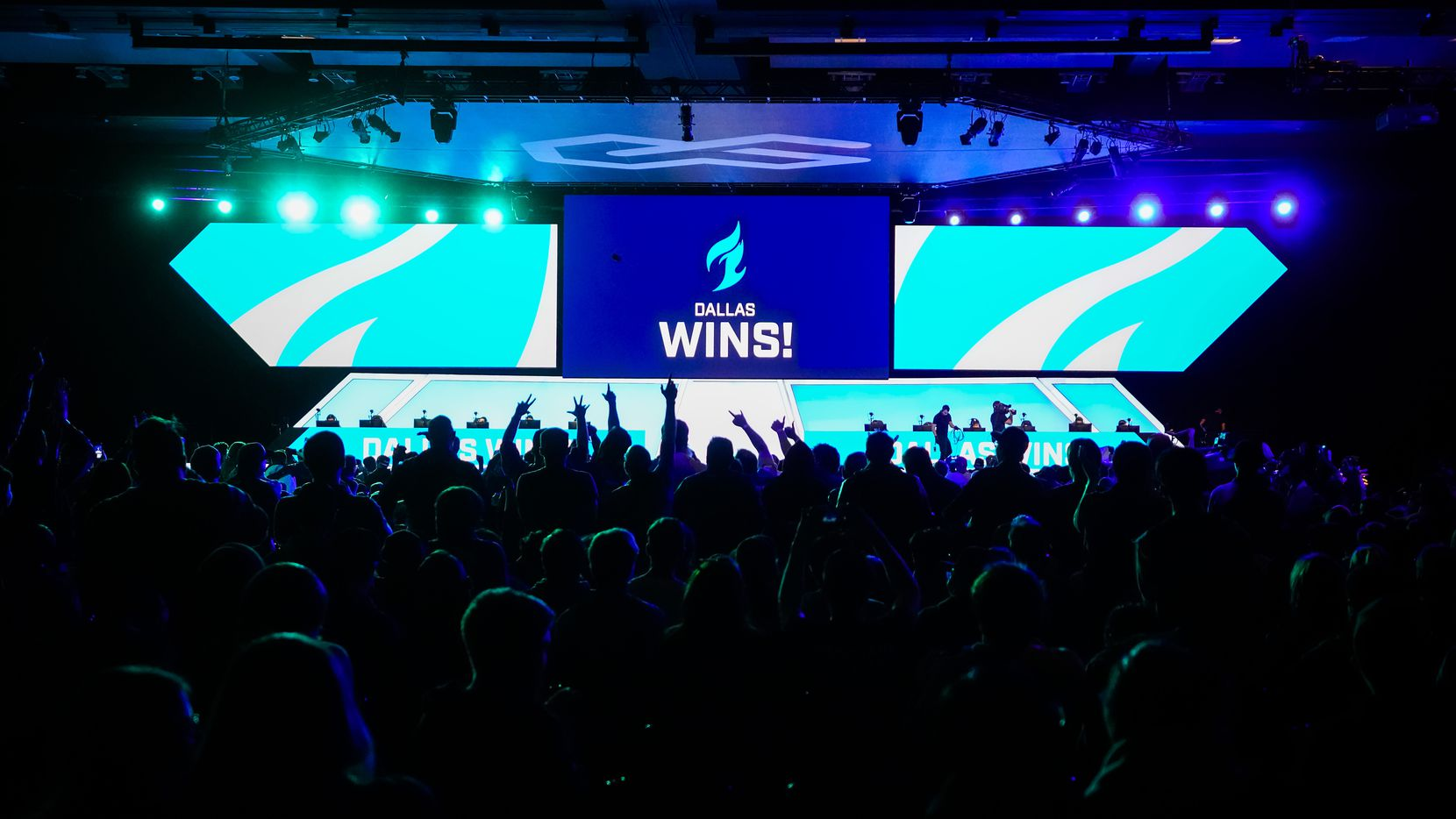 Fans cheer after the Dallas Fuel won a map in an Overwatch League match against the Los Angeles Valiant at the Arlington Esports Stadium on Saturday, Feb. 8, 2020, in Arlington.