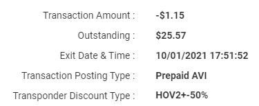 """To see if you get the 50% discount, you go to your NTTA.org webpage and under """"Transaction Details"""" you should see """"HOV2+50%."""""""