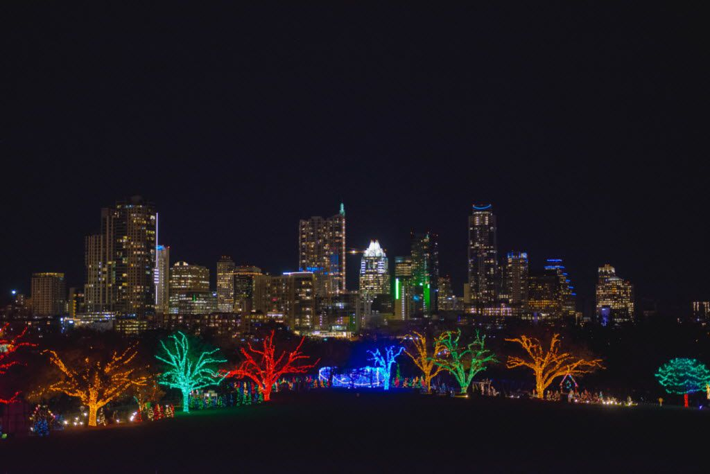 Austin's skyline is the backdrop for a segment of the city's annual Trail of Lights.
