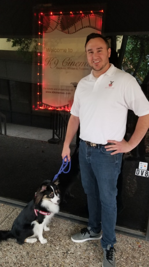 Founder Eric Lankford and his dog, Bear, at the k9 Cinemas location in Plano.