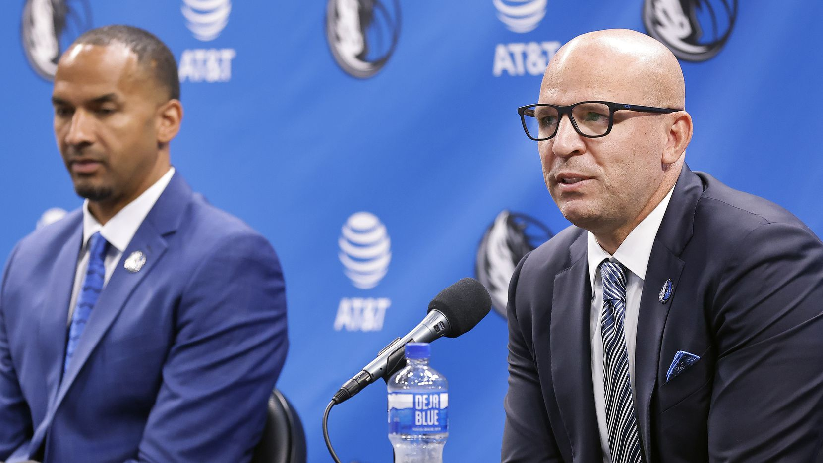 Dallas Mavericks new head coach Jason Kidd (right) and new general manager Nico Harrison respond to questions during a press conference to formally introduce them at the American Airlines Center, Thursday, July 15, 2021.