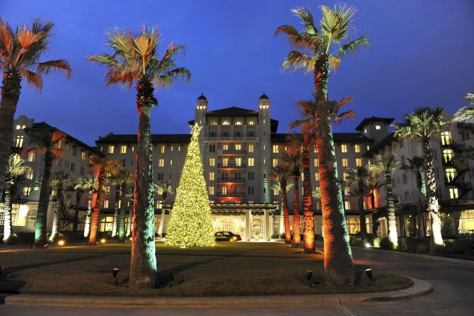 Galveston celebrates the holidays with a lighting ceremony at the historic Hotel Galvez the day after Thanksgiving.