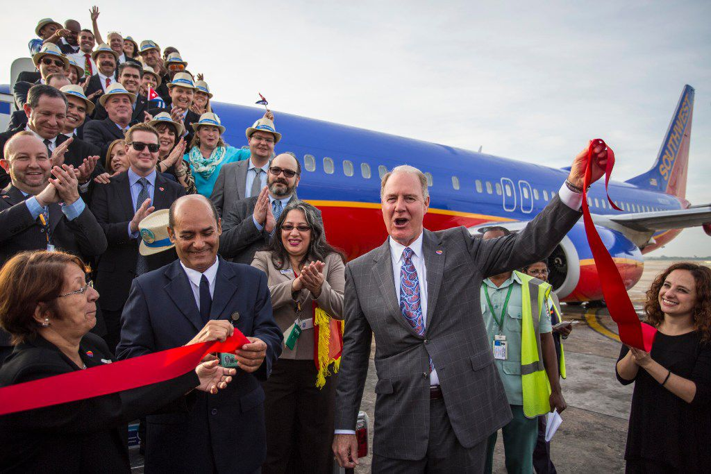 Southwest Airlines CEO Gary Kelly celebrated the launch of service to Havana in December as the carrier's maiden flight arrived in the Cuban capital.