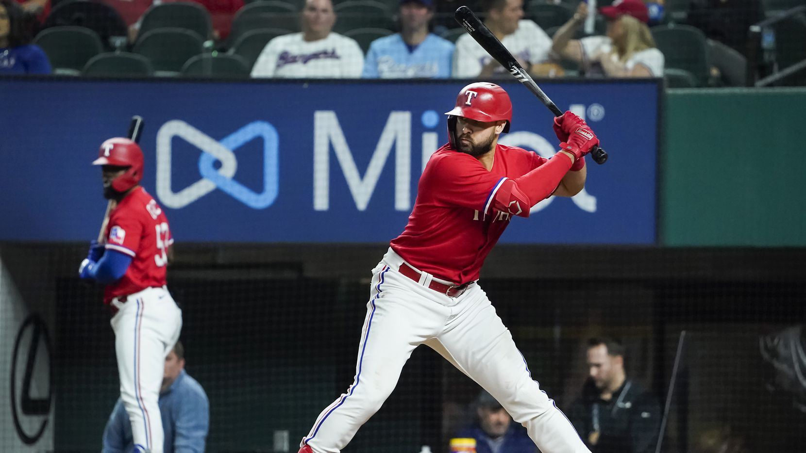 Texas Rangers right fielder Joey Gallo bats during the sixth inning with left fielder Adolis Garcia on deck against the Baltimore Orioles at Globe Life Field on Friday, April 16, 2021.