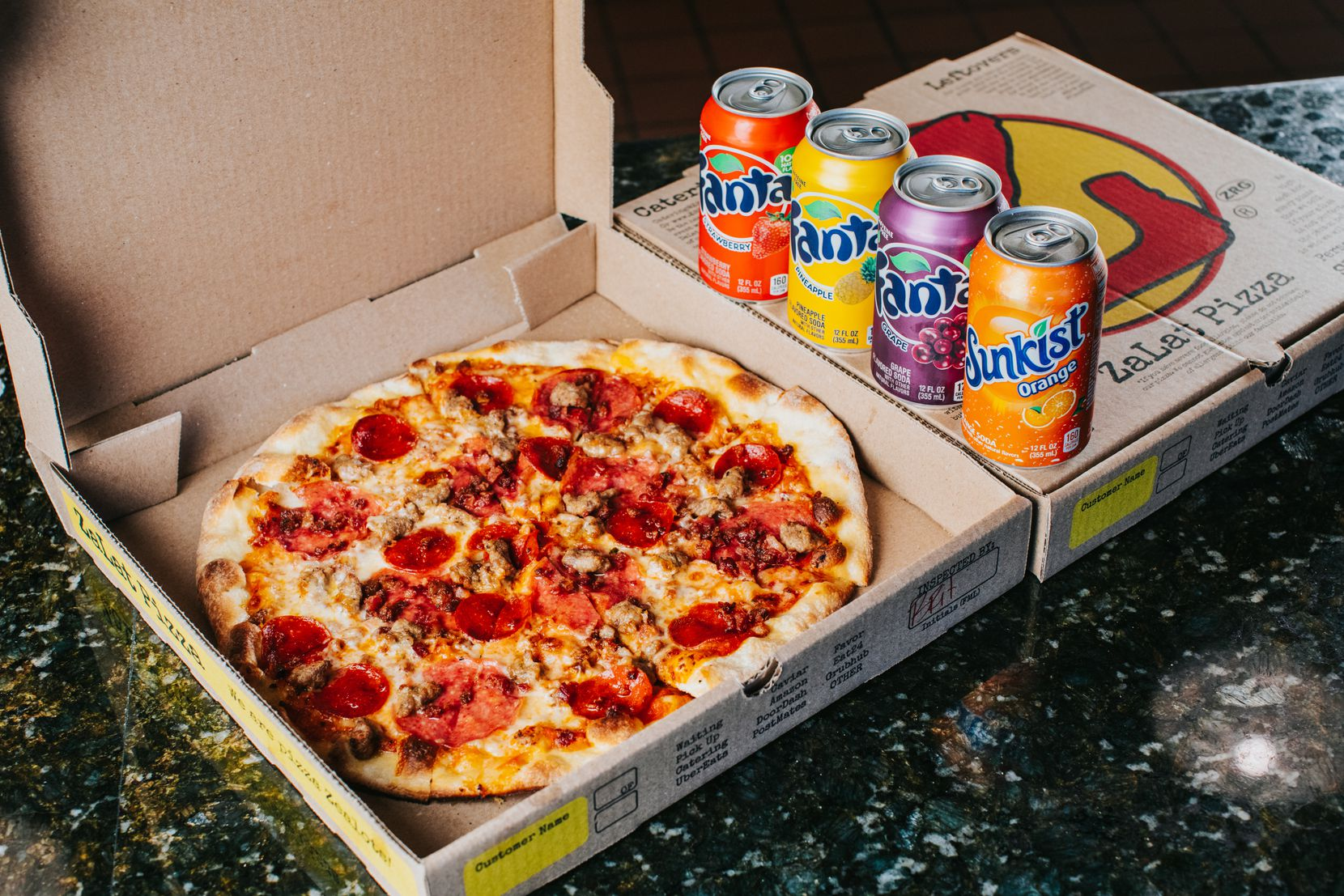 ZaLat Pizza offers the Meatza pizza topped with beef pepperoni, sausage, salami and bacon.