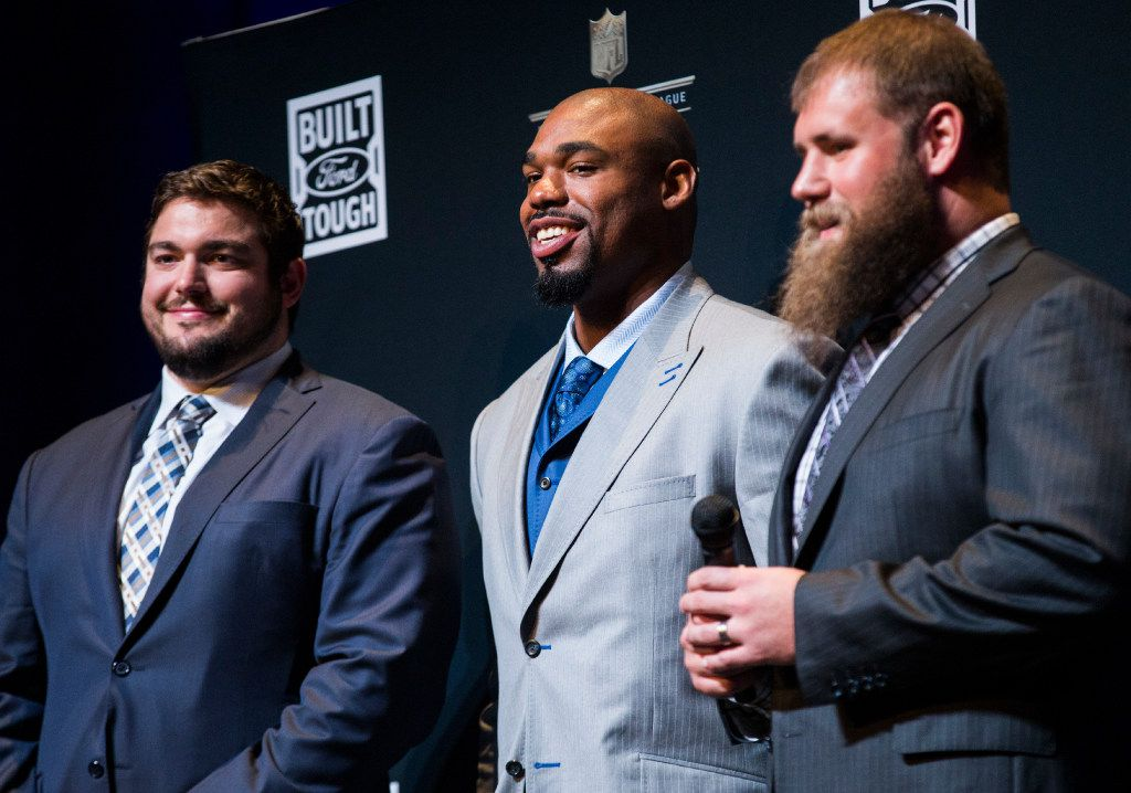 Dallas Cowboys offensive linemen Zack Martin, Tyron Smith and Travis Frederick speak to media after winning the Built Ford Tough Offensive Line of the Year award at the NFL Honors event at the Wortham Theater Center on Friday, February 4, 2017 in Houston. The event is in advance of Super Bowl LI. (Ashley Landis/The Dallas Morning News)