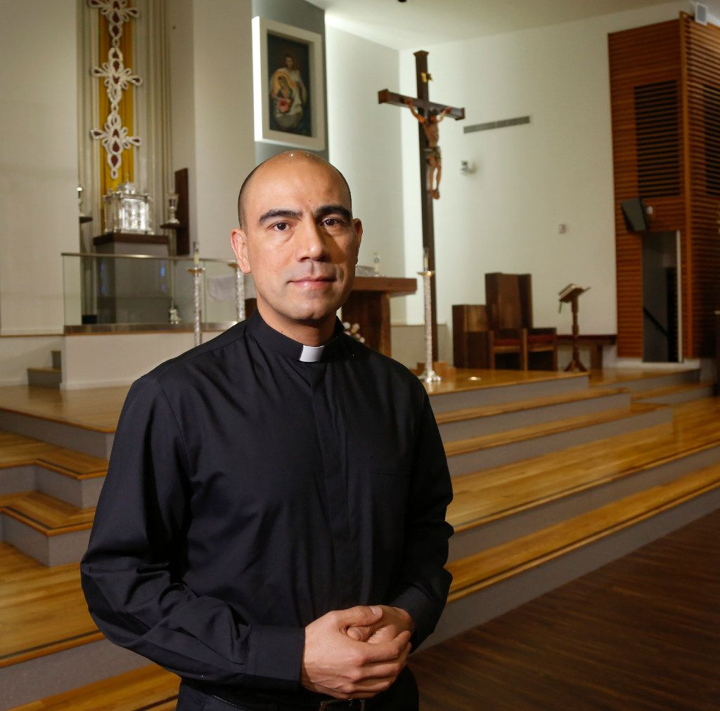The Rev. Jesus Belmontes of San Juan Diego Catholic Church in Dallas in his church's sanctuary. He has joined other religious leaders in expressing his concerns about SB4, the Texas immigration bill about sanctuary cities.