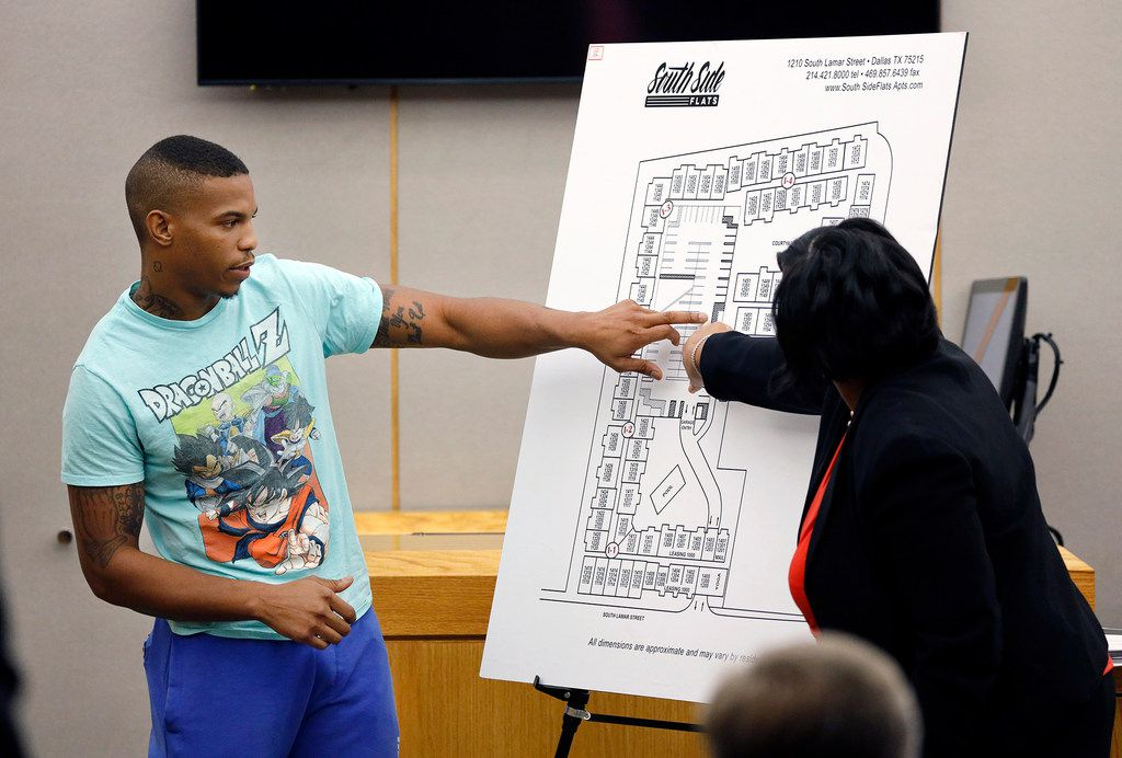 Answering Assistant District Attorney LaQuita Long's question (right), Joshua Brown points to a map of the South Side Flats where he lives. He lived across the hall from Botham Jean.