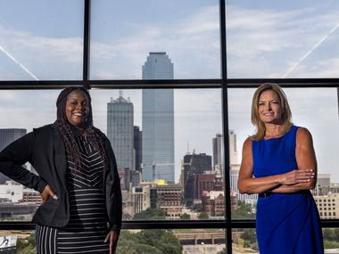 Shree Jackson, left, the human trafficking coordinator in the Dallas County District Attorney's Office, and Julie Turnbull, the chief of the office's restorative Justice division at the Frank Crowley Courts Building. in Dallas. They are leaders in the DA's new strategy to strike pre-trial intervention agreements with every defendant facing misdemeanor or felony prostitution charges.