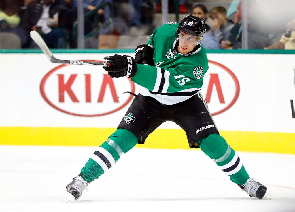 Dallas Stars defenseman Patrik Nemeth (15) passes the puck against Florida Panthers in the second period at the American Airlines Center in Dallas, Tuesday, October 4, 2016. (Tom Fox/The Dallas Morning News)
