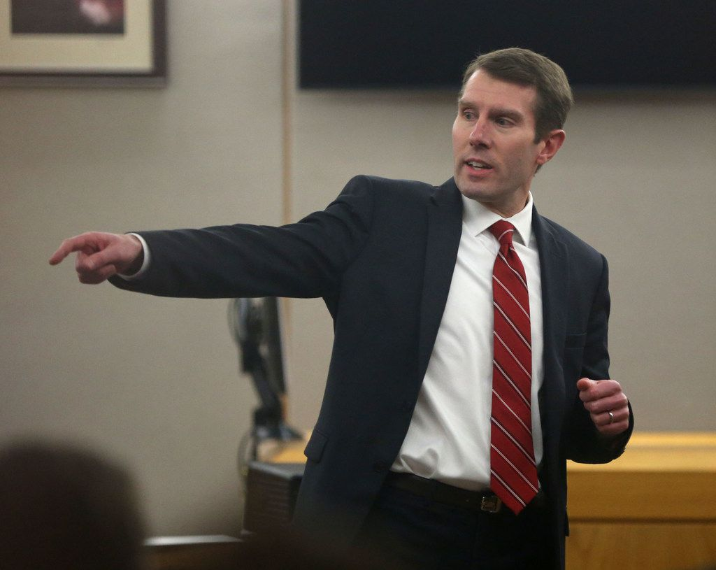 Prosecutor Justin Lord during a 2018  at the Frank Crowley Courts Building in Dallas. (Rose Baca/The Dallas Morning News