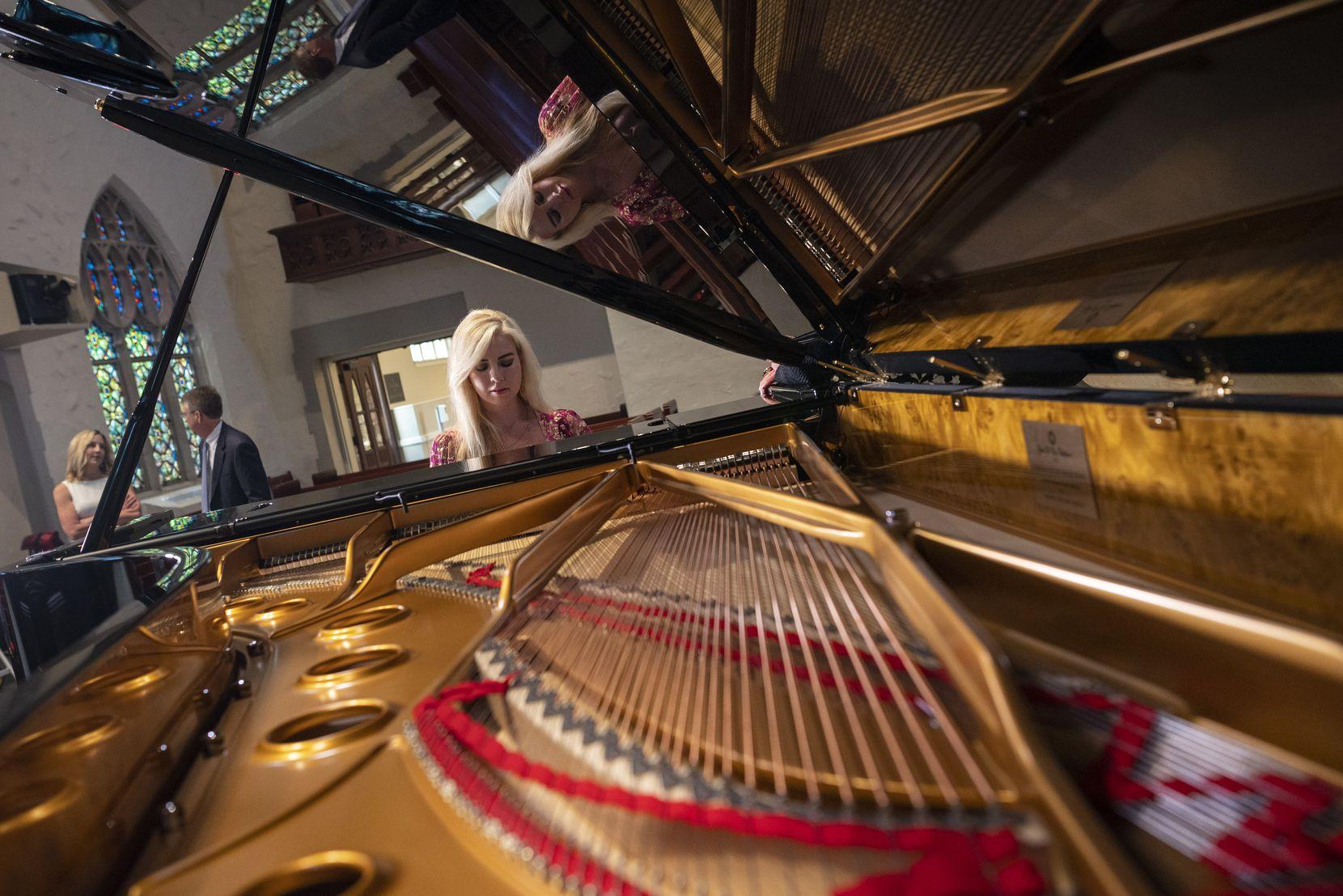 Pianist Natasha Paremski plays the Fazioli grand piano at Highland Park United Methodist Church.