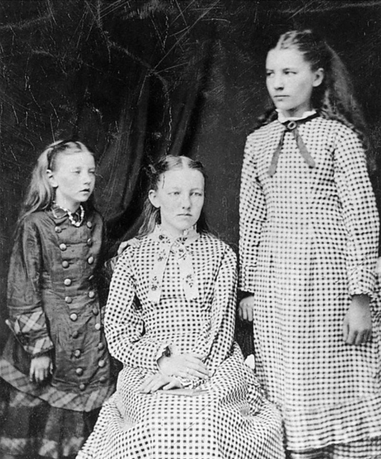 The first known photograph of the three eldest Ingalls sisters, taken around 1879 or 1880. From left: Carrie, Mary and Laura. Carrie is believed to be wearing a string of American Indian beads, perhaps those collected by her sisters on the day she was born. From  Prairie Fires: The American Dreams of Laura Ingalls Wilder.