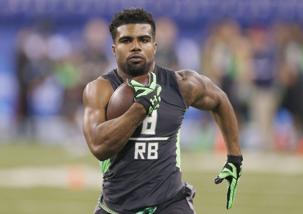 Feb 26, 2016; Indianapolis, IN, USA; Ohio State Buckeyes running back Ezekiel Elliott participates in drills during the 2016 NFL Scouting Combine at Lucas Oil Stadium. Mandatory Credit: Brian Spurlock-USA TODAY Sports ORG XMIT: USATSI-264588