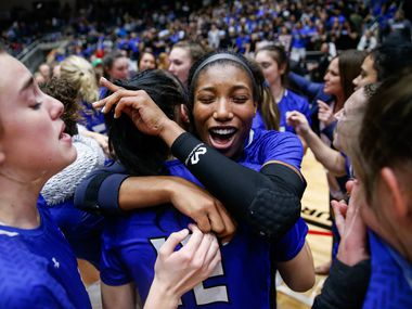 Trophy Club Byron Nelson's Charitie Luper celebrates with teammates after being selected as the MVP of last year's Class 6A state championship match against Plano West. (Juan Figueroa/The Dallas Morning News)