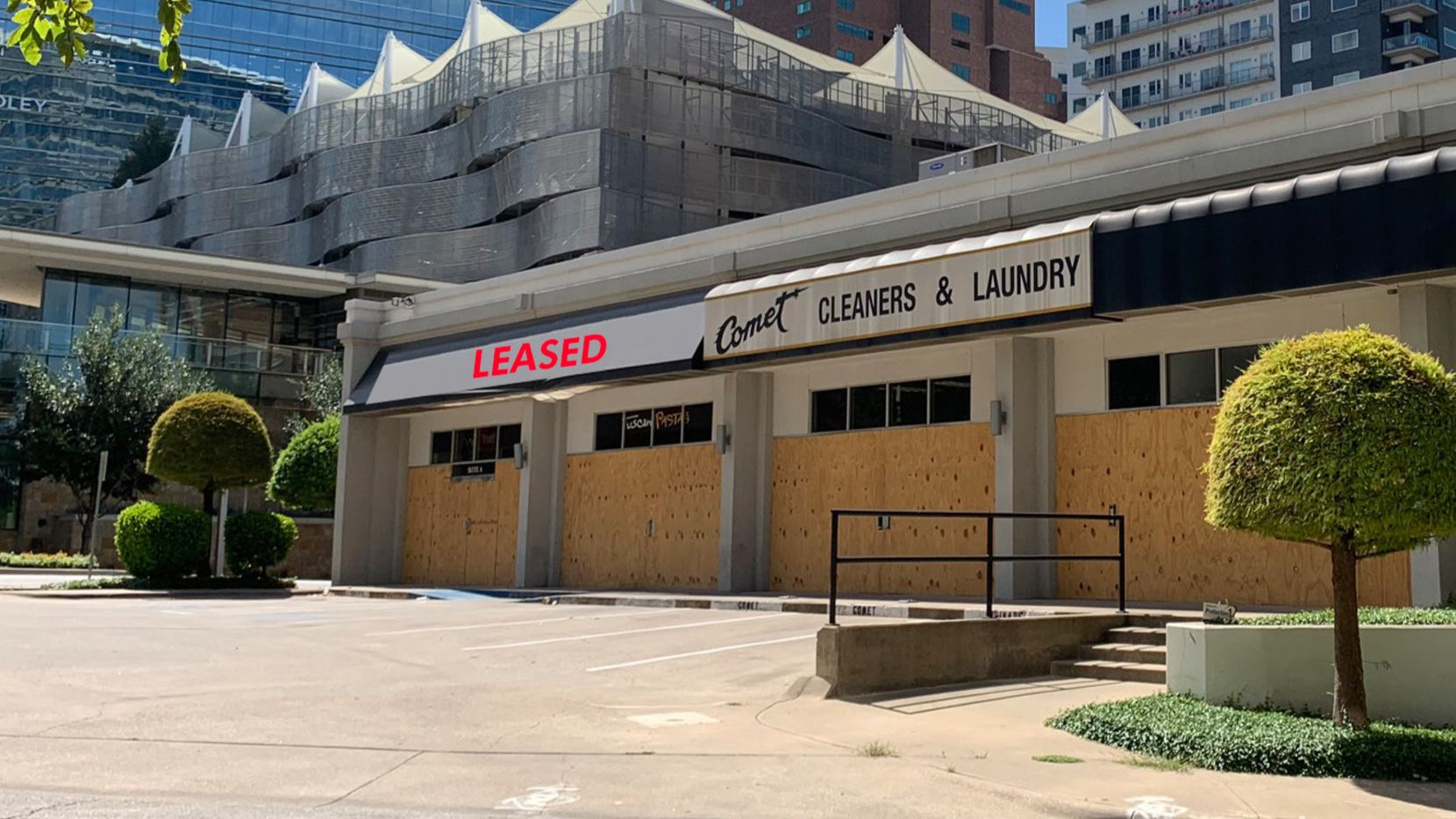 One space in the Cedar Springs Road building is already leased.