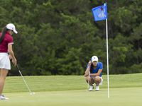 Midlothian Tiffany Cao studies her shot on the 11th green during round 1 of the UIL Class 5A girls golf tournament in Georgetown, Monday, May 10, 2021.