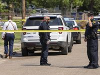 Dallas police respond to a stabbing in the 2900 block of Frazier Street on Thursday.
